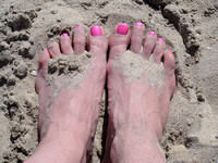 Neon Pink Toes in the Sand